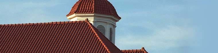 Photo of red rooftops on front campus.